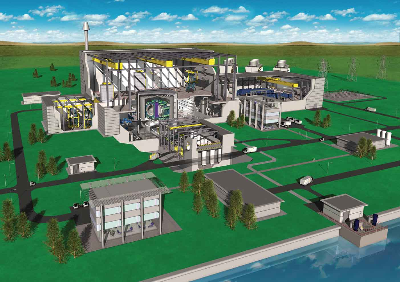Artist's impression of a fusion power plant