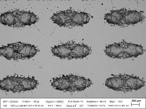 Figure 2 SEM micrograph of W-Ta lattice cross section.