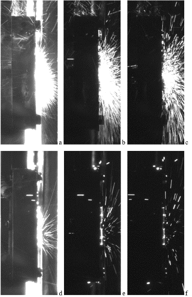 Figure 3 Images during first plasma irradiation (energy density of incoming plasma 1.1 MJ/m2) of WTa lattice after 1st (top line) and 5th (bottom line) pulses corresponding to 1.2-2.4 (a, d) ms; 3.6-4.8 ms (b, e); 6.0-7.2 (c,f) ms ) after the start of the plasma–surface interaction (texposure=1.2 ms)